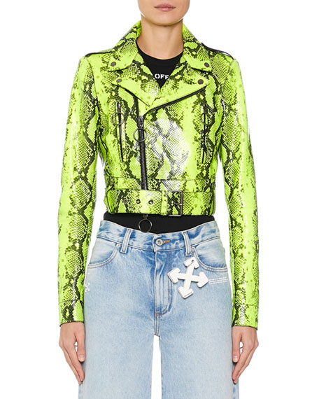 Long-Sleeve Python Print Asymmetric Moto Jacket