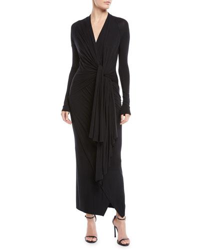 Transformer Tie-Front Long-Sleeve Stretch-Jersey Long Dress