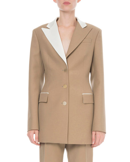 Bicolor Long Wool-Blend Jacket