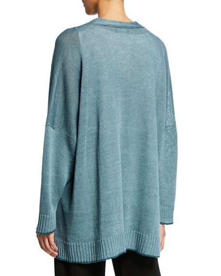 Oversized Linen-Knit Button-Front Cardigan