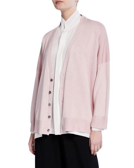 Eskandar Silk Button-Front High-Low Cardigan