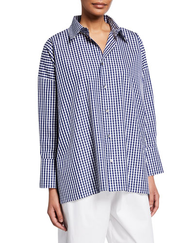 Gingham Cotton Collared A-line Shirt