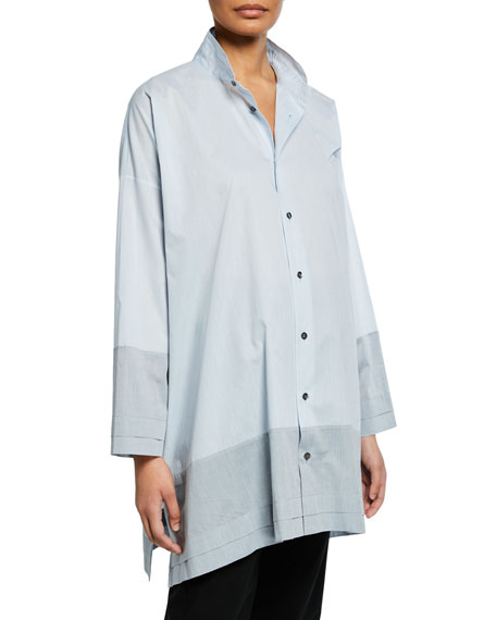 Wide A-Line Double Stand Collar Shirt