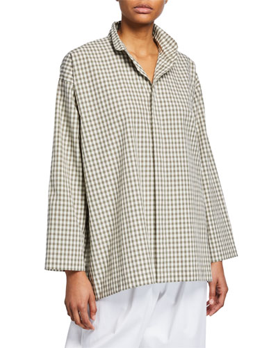 Slim Gingham A-Line Cotton Shirt