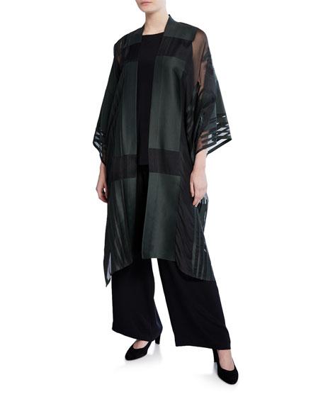 Eskandar Long Open Front Cotton-Silk Sheer-Panel Jacket