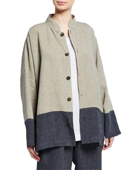Eskandar Mandarin-Collar Long-Back Jacket