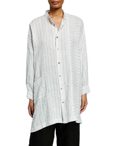 Delave Linen Silver Striped Shirt