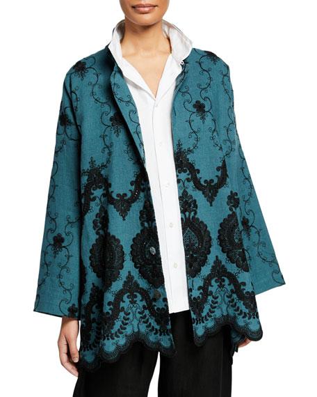 Eskandar Embroidered Linen Chinese Collar Jacket