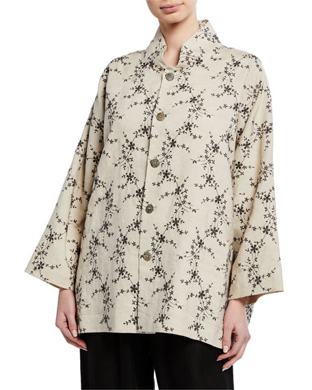 Eskandar 3/4-Sleeve Sloped Shoulder Jacket