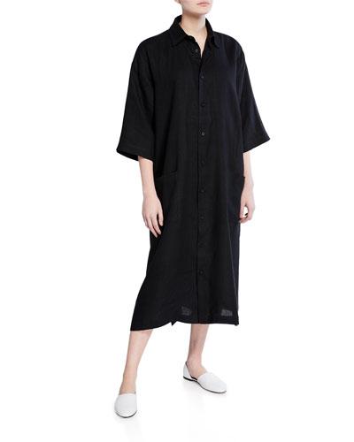 3/4-Sleeve Slim A-Line Shirtdress
