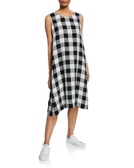 Gingham Side-Pleated Midi Dress