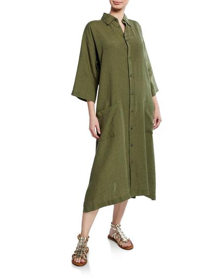 Eskandar 3/4 Sleeve Irish Lightweight Linen Shirt
