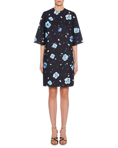 Short-Sleeve Floral Print Shift Dress