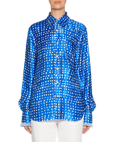Long-Sleeve Polka Dot Silk Button-Front Shirt