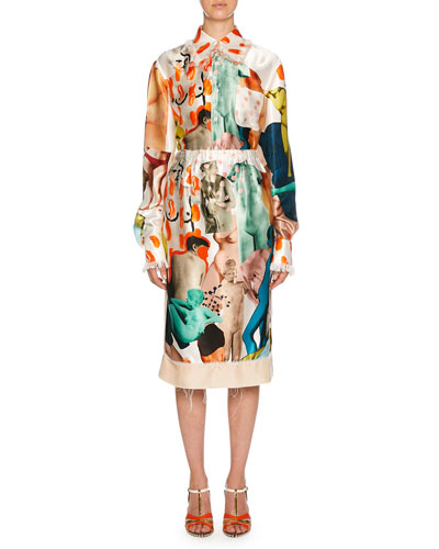 Statue Print Silk Midi Skirt