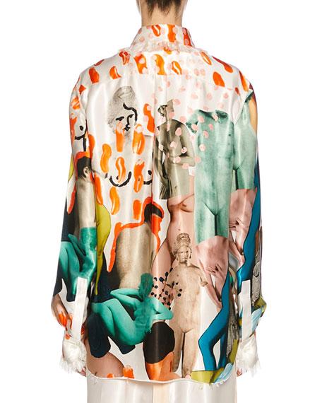 Long-Sleeve Art Collage Silk Button-Front Shirt
