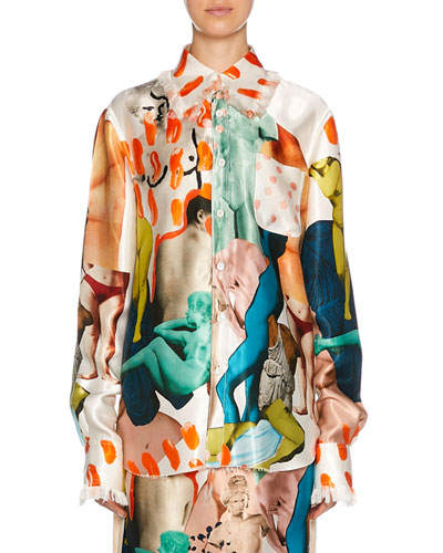 Long-Sleeve Art Collage Silk Button-Front Shirt