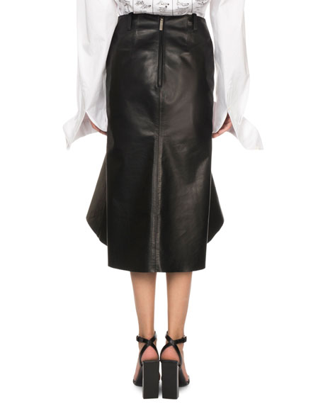 Flounce-Hem Leather Midi Skirt