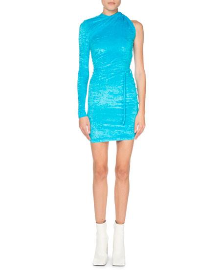 Crushed Velvet One-Sleeve Dress