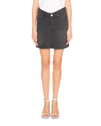 V-Waist Japanese Denim Mini Skirt