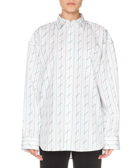 Balenciaga Logo-Print Striped Button-Front Shirt