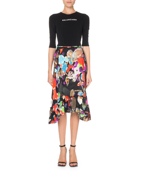 Balenciaga 3/4-Sleeve Casino-Print Dress
