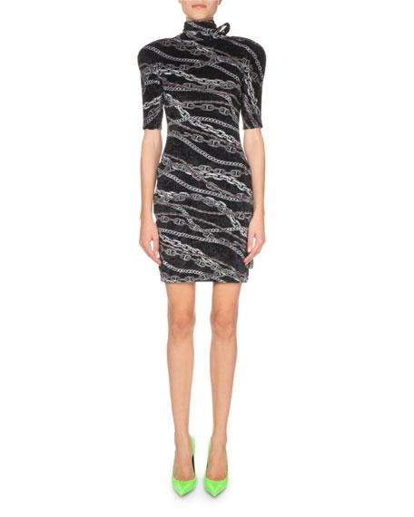 Long-Sleeve Turtleneck Chain-Print Dress