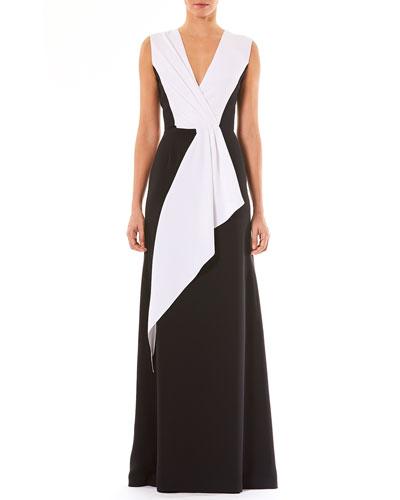 V-Neck Sleeveless Draped Silk Evening Gown