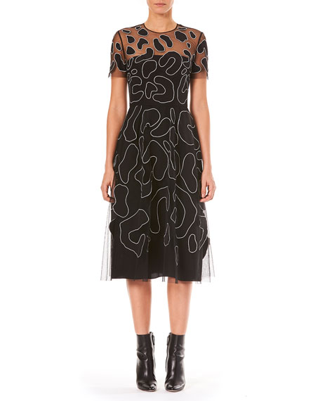 Carolina Herrera Jewel-Neck Short-Sleeve Leopard-Embroidered