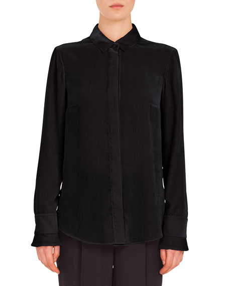 Long-Sleeve Button-Front Velvet-Front Jersey-Back Blouse