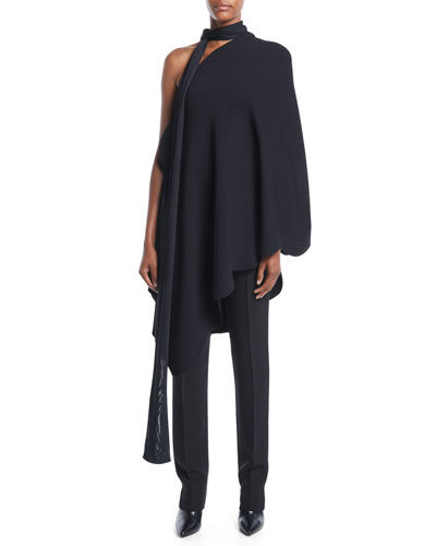 One-Shoulder Scarf-Neck Scalloped-Edge Stretch-Viscose Tunic Top