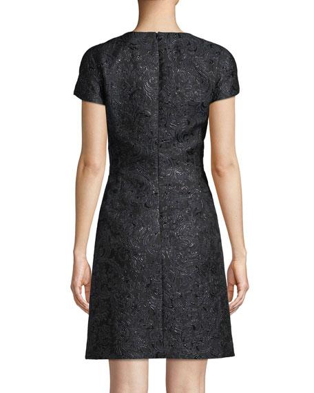 Jewel-Neck Cap-Sleeve Metallic Damask Brocade A-Line Mini Dress