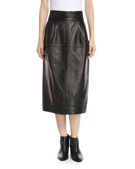 fefe7d4592 Marc Jacobs High-Waist A-Line Midi Lamb Leather Skirt