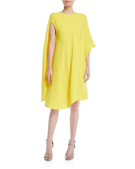 CALVIN KLEIN 205W39NYC Silk-Wool Asymmetric Flowy Dress