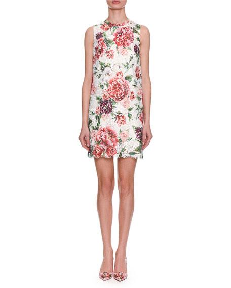 Dolce & Gabbana Sleeveless Rose-Printed Lace A-Line Dress