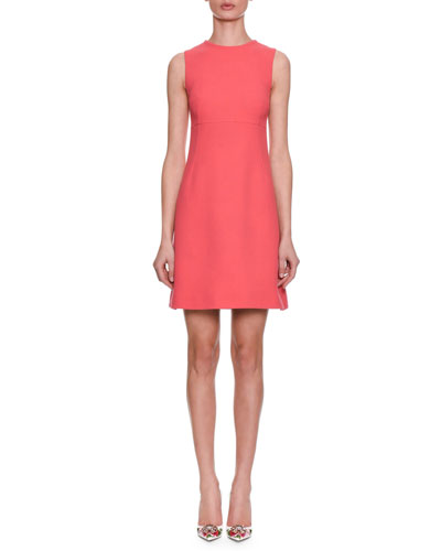 Sleeveless A-Line Crepe Wool Day Dress