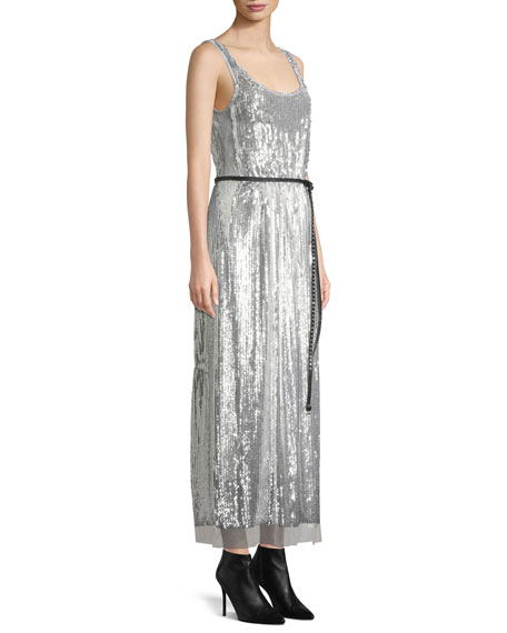 Marc Jacobs Scoop-Neck Sleeveless Mirrored-Sequins Belted Cocktail Dress ed761254d