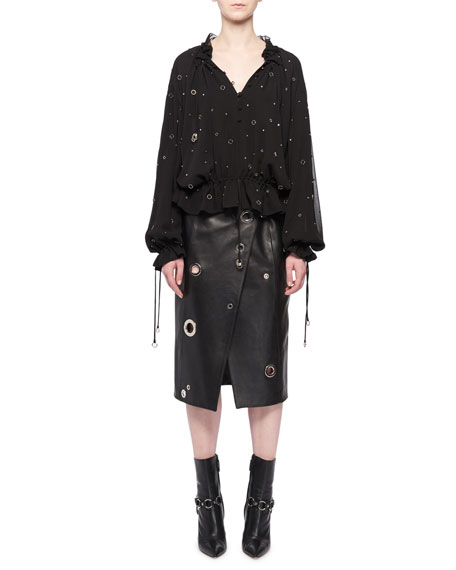 Altuzarra V-Neck Long-Sleeve Grommet Silk Blouse