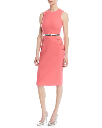 Sleeveless Stretch-Boucle Crepe Sheath Dress w/ Belt