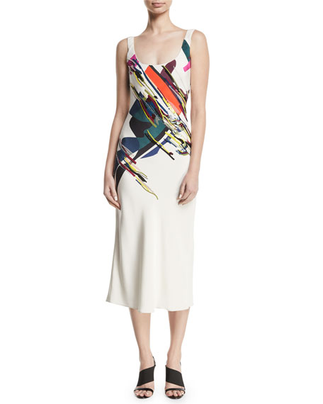 CUSHNIE Sleeveless Scoop-Neck Expressionist-Print Beaded Bias-Cut