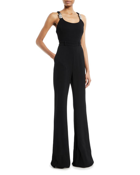 Scoop-Neck Thin-Strap Flared-Leg Jumpsuit w/ Pineapple Crystal-Embellished