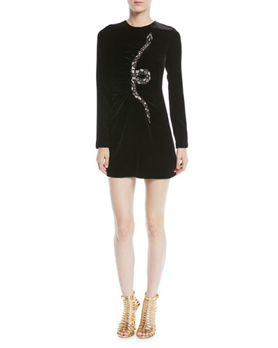 Long-Sleeve Velvet Cocktail Dress w/ Embellished Snake