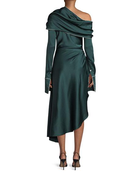 Long-Sleeve Twist-Shawl Asymmetric Satin Midi Cocktail Dress