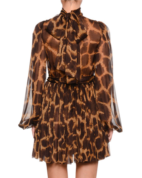Mock-Neck Long-Sleeve Giraffe-Print Chiffon Dress