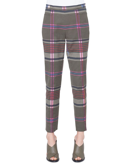 Akris punto Franca Plaid Stretch-Cotton Side-Zip Straight-Leg