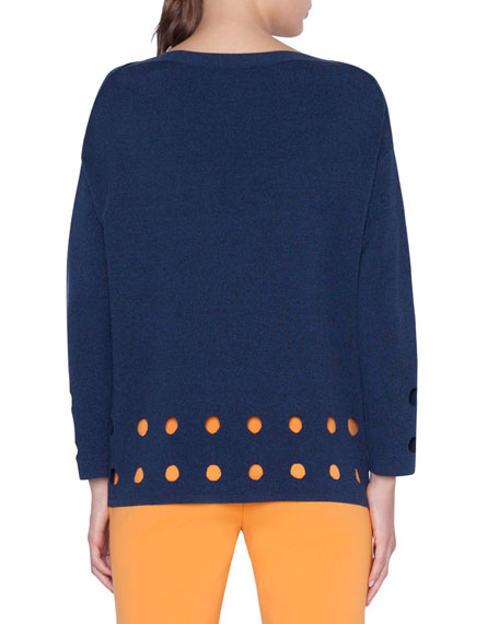 Perforated Knit Pullover Sweater