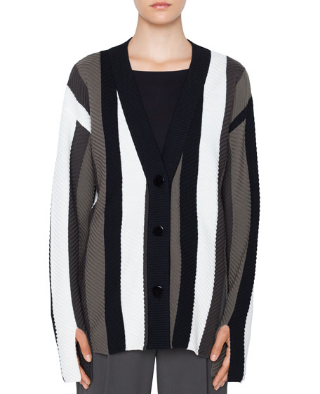 Akris punto Striped Merino Trumpet-Sleeve Cardigan