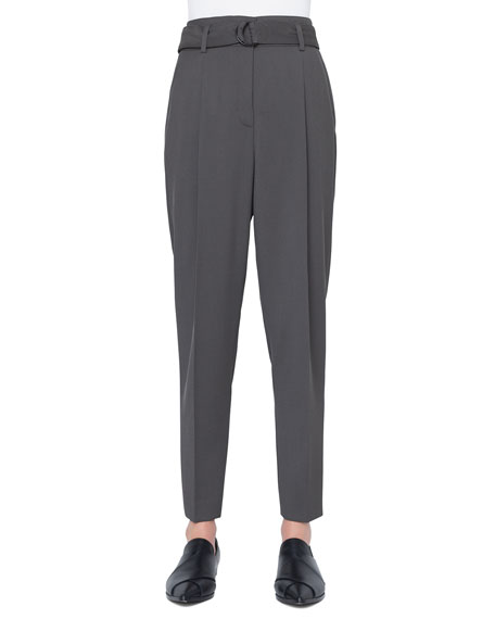 Akris punto Fred Belted Cropped Wool Tricot Pants