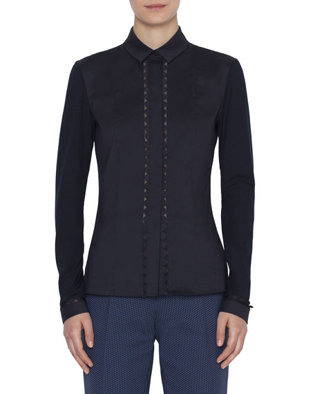Akris punto Stretch-Cotton Kent-Collar Button Front Blouse