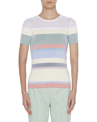 Short-Sleeve Ribbed Wool Pullover Sweater